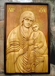 Резная авторская икона Святогорская Богородица