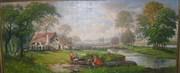 холст/масло Сельский дворик 1989 год