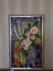 Картина  (коллаж) из искусственных цветов