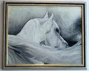 Картина,  маслом Белая лошадь в рамке