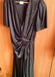 Красивое вечернее платье черного цвета с драппировкой,  размер 46