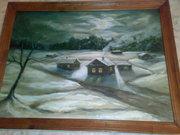 картина Зимний вечер (холст, масло) Сергей Теслюк