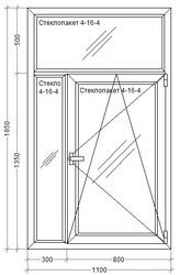 Пластиковое окно 1100 х 1850 мм