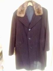 Зимнее мужское пальто с норковым воротником